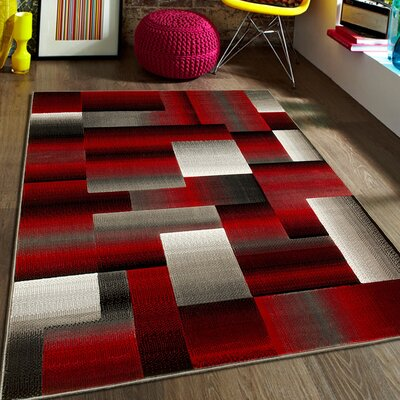 Red Area Rug Rug Size: 5 x 611