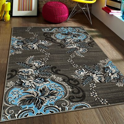 Blue/Gray Area Rug Rug Size: 5 x 611