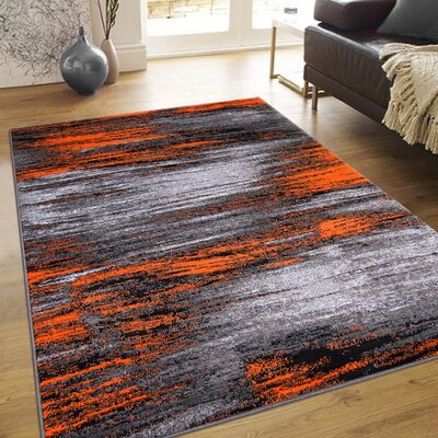 Orange Area Rug Rug Size: 5 x 611