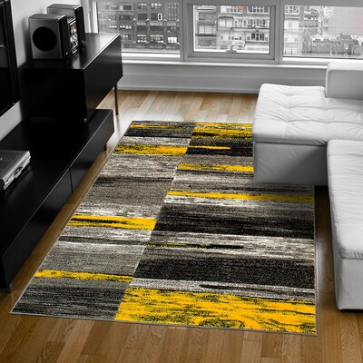 Yellow Area Rug Rug Size: 5 x 611