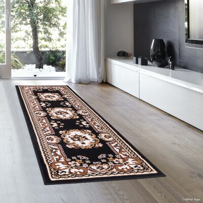 Hand-Woven Black Area Rug Rug Size: Runner 2 x 7