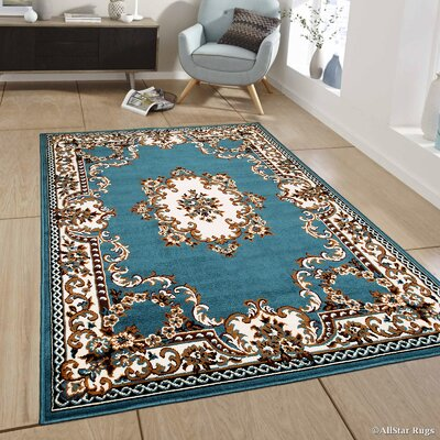 Bellomy Light Blue Area Rug Rug Size: 3'9