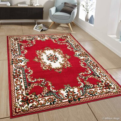 Red Area Rug Rug Size: 77 x 106