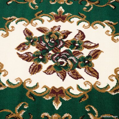 Bellomy High-Quality Woven Flower Green Area Rug Rug Size: 77 x 106