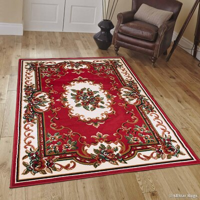 Hand-Woven Red Area Rug Rug Size: 39 x 51
