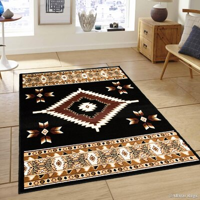 Hand-Woven Black Area Rug Rug Size: 39 x 51
