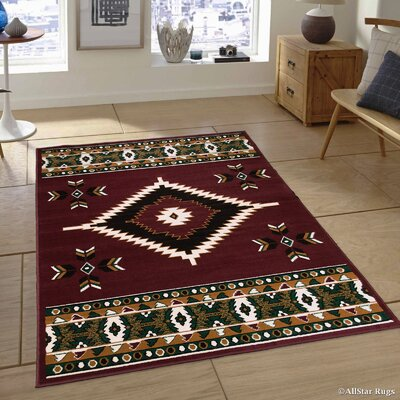 Labrieville Burgundy High Quality Woven Traditional Southwestern Geometric Designed Area Rug (2 0 X 2 11)