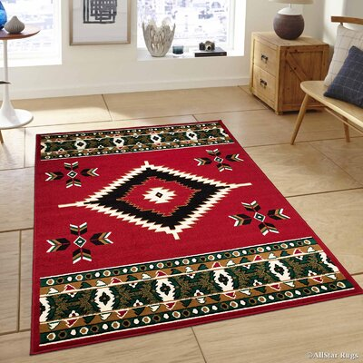 Hand-Woven Red Area Rug Rug Size: 77 x 106