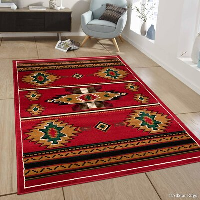 Myron Red/Black Area Rug Rug Size: 39 x 51