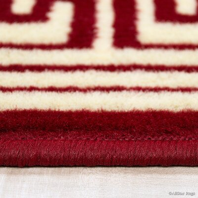 Red/Cream Area Rug Rug Size: 52 x 71