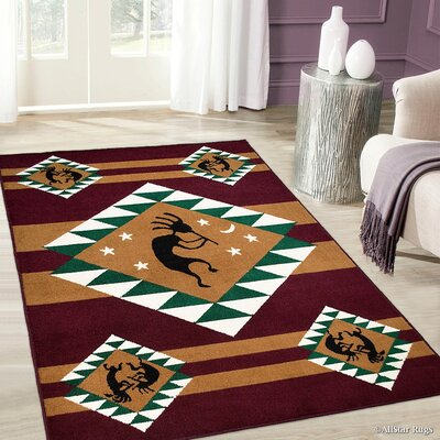 Burgundy/Brown Area Rug Rug Size: 77 x 106