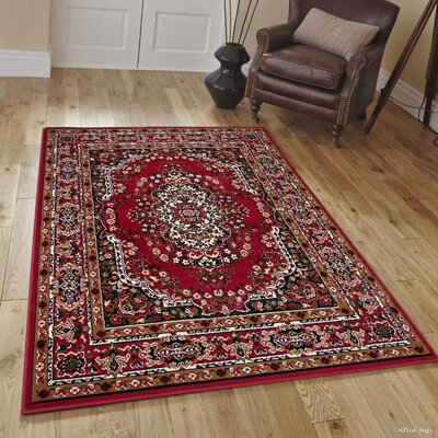 Hand-Woven Red Area Rug Rug Size: Rectangle 5 x 7