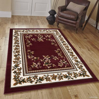 Hand-Woven Burgundy Area Rug Rug Size: Rectangle 5 x 7