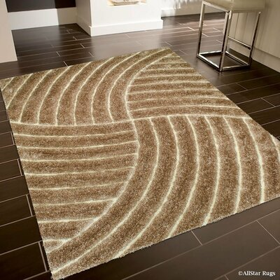 Hand-Tufted Brown Area Rug Rug Size: 5 x 7