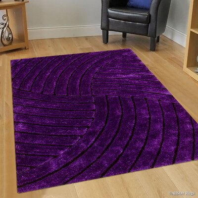 Hand-Tufted Lilac Area Rug Rug Size: 76 x 105