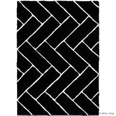 Hand-Tufted Black Area Rug Rug Size: 5 x 7