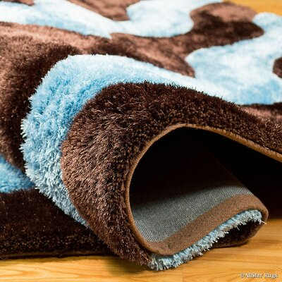Hand-Tufted Blue/Chocolate Area Rug Rug Size: 5 x 7