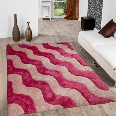 Hand-Tufted Pink Area Rug Rug Size: 76 x 105