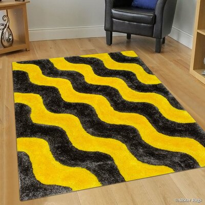 Hand-Tufted Yellow/Black Area Rug Rug Size: 76 x 105