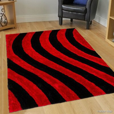 Hand-Tufted Black/Red Area Rug Rug Size: 76 x 105