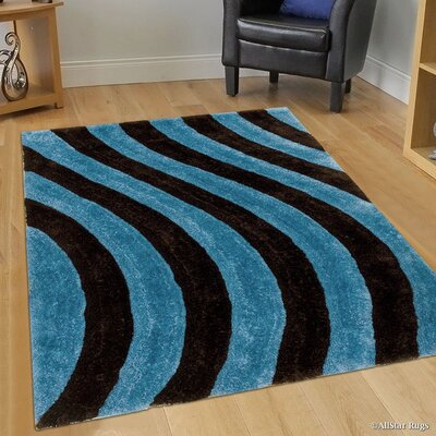 Hand-Tufted Blue/Black Area Rug Rug Size: 76 x 105