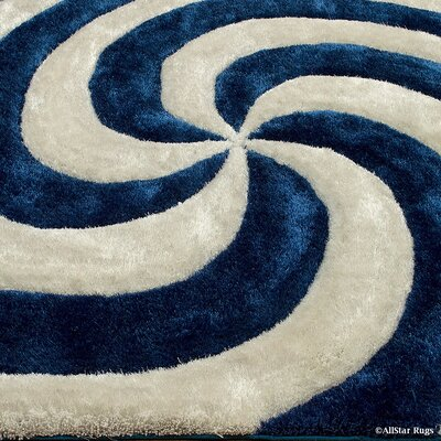 Hand-Tufted Cobalt/White Area Rug Rug Size: 5 x 7