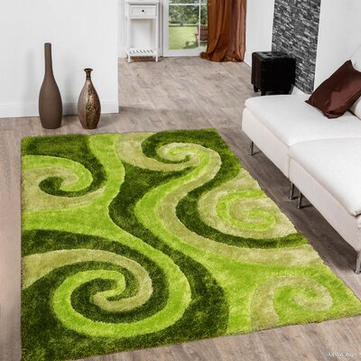 Hand-Tufted Green Area Rug Rug Size: 5 x 7