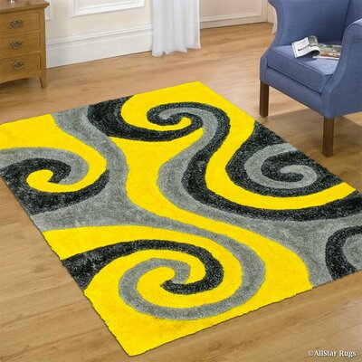 Hand-Tufted Yellow Area Rug Rug Size: 5 x 7