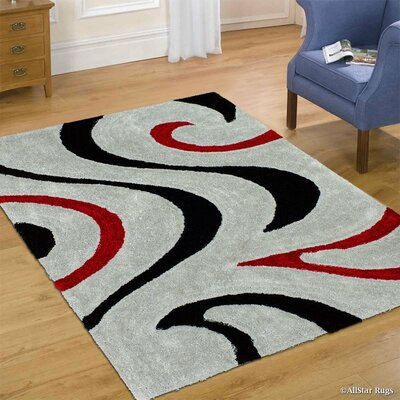 Hand-Tufted Gray Area Rug Rug Size: 76 x 105