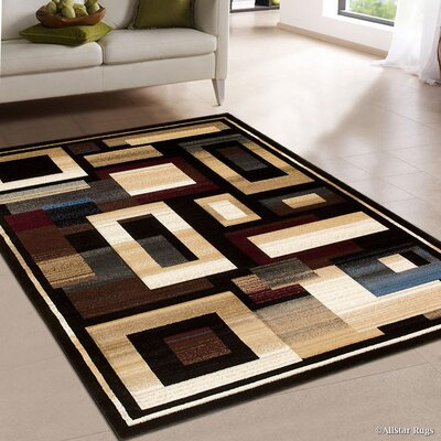Hand-Woven Black/Brown Area Rug Rug Size: 79 x 105