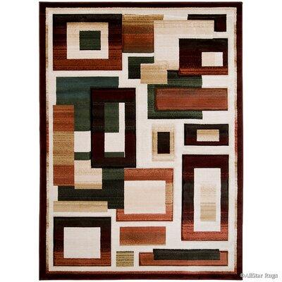 Hand-Woven Gray/Burgundy Area Rug Rug Size: 79 x 105