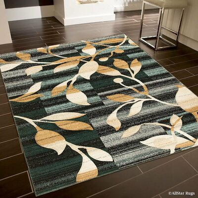 Green/Gray Area Rug Rug Size: Rectangle 52 x 72
