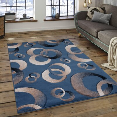 Circles Blue Area Rug Rug Size: 79 x 105