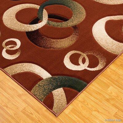 Circles Brick Area Rug Rug Size: 79 x 105