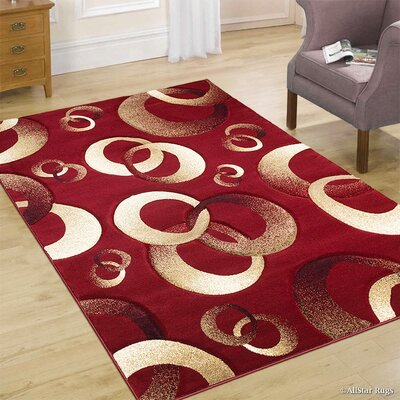 Circles Red Area Rug Rug Size: 79 x 105