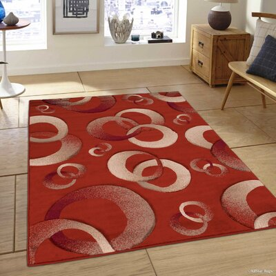Circles Rust Area Rug Rug Size: Rectangle 79 x 105