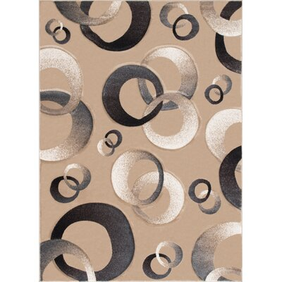 Circles Champagne Area Rug Rug Size: Rectangle 39 x 51