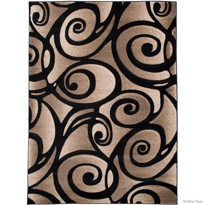 Evolution Swirl Black/Brown Area Rug Rug Size: Rectangle 39 x 51