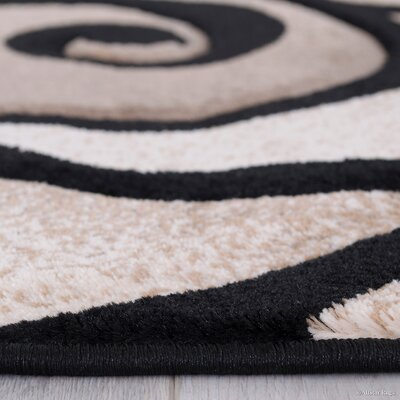 Evolution Swirl Black/Brown Area Rug Rug Size: 52 x 72