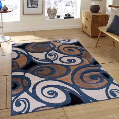 Evolution Swirl Blue/Brown Area Rug Rug Size: 79 x 105