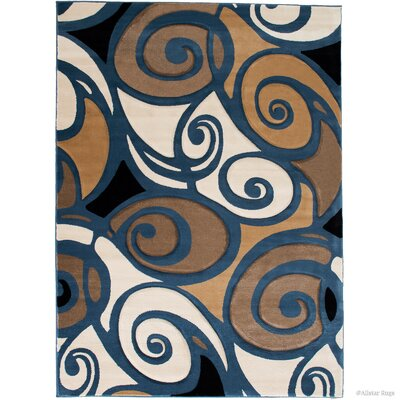 Evolution Swirl Blue/Brown Area Rug Rug Size: Rectangle 39 x 51