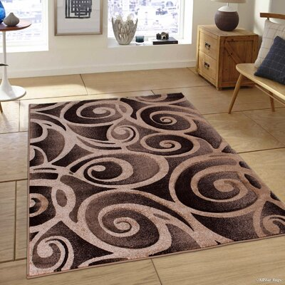 Evolution Swirl Champagne Area Rug Rug Size: Rectangle 79 x 105