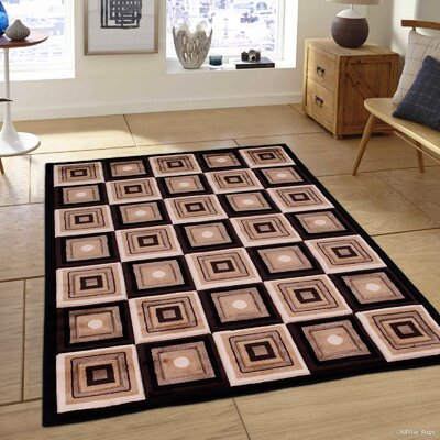 Black/Brown Area Rug Rug Size: 39 x 51