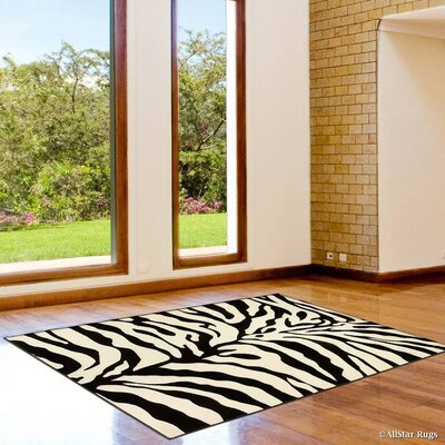 White/Black Area Rug Rug Size: 52 x 72