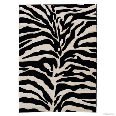 Zebra Black/Beige Area Rug Rug Size: Rectangle 39 x 51