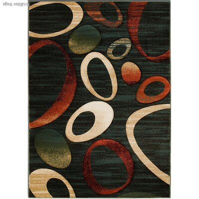 Blue/Rust Area Rug Rug Size: Rectangle 39 x 51