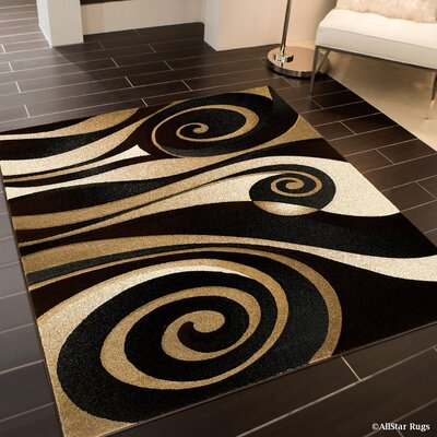 Floral Spiral Black/Brown Area Rug Rug Size: Rectangle 52 x 72