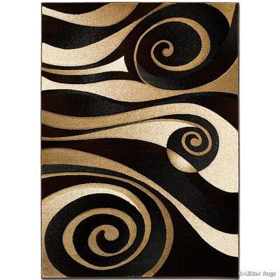Floral Spiral Black/Brown Area Rug Rug Size: Rectangle 39 x 51