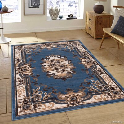 Persian Blue/Beige Area Rug Rug Size: 79 x 105