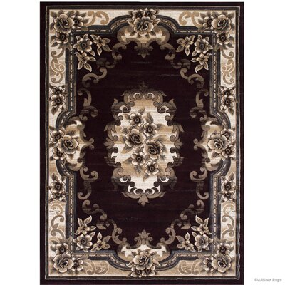 Burgundy/Beige Area Rug Rug Size: Rectangle 39 x 51